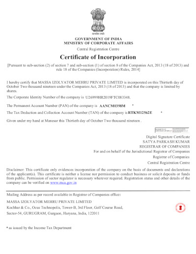 Регистрация совместного российско-индийского предприятия Massa Izolyator Mehru Pvt. Ltd